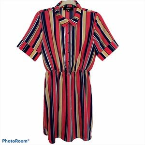 Women's multicolor striped short sleeve dress M